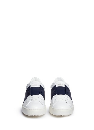 Figure View - Click To Enlarge - Valentino - 'Rockstud' contrast panel leather sneakers