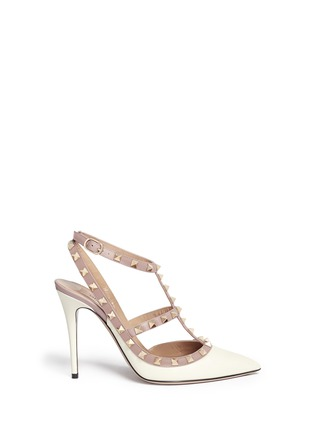 Main View - Click To Enlarge - Valentino - 'Rockstud' caged calfskin leather pumps