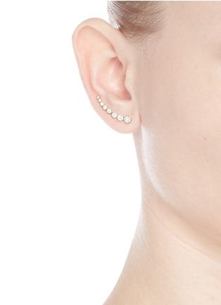 Figure View - Click To Enlarge - Sophie Bille Brahe - 'Croissant de Lune' diamond 18k yellow gold single earring