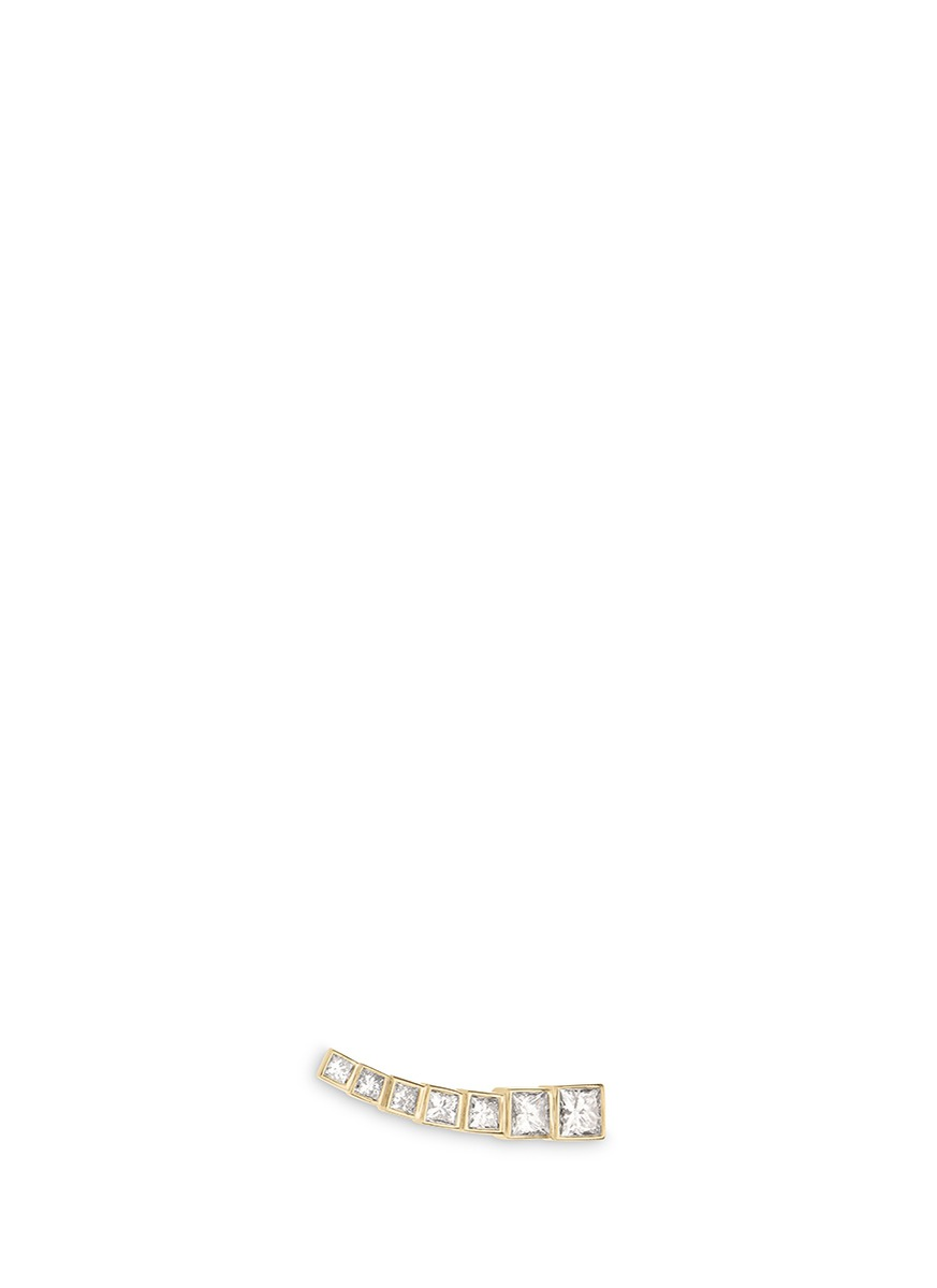 Croissant Princess diamond 18k yellow gold single climber earring by Sophie Bille Brahe