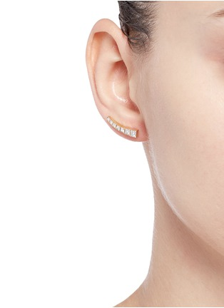 Figure View - Click To Enlarge - Sophie Bille Brahe - 'Croissant Princess' diamond 18k yellow gold single climber earring