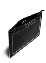 'Antigona' contrast edge large leather zip pouch