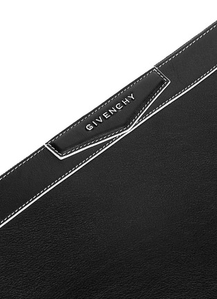 Detail View - Click To Enlarge - Givenchy - 'Antigona' contrast edge large leather zip pouch