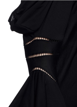 Detail View - Click To Enlarge - Givenchy - Ladder stitch cold shoulder jersey top