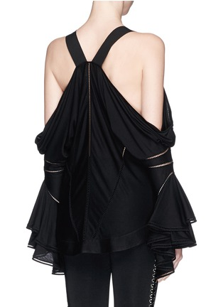 Back View - Click To Enlarge - Givenchy - Ladder stitch cold shoulder jersey top