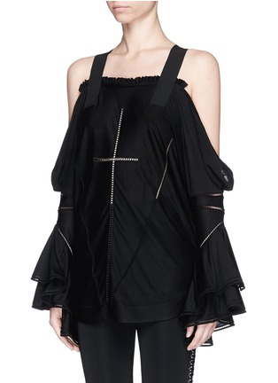 Front View - Click To Enlarge - Givenchy - Ladder stitch cold shoulder jersey top