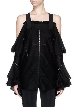Main View - Click To Enlarge - Givenchy - Ladder stitch cold shoulder jersey top