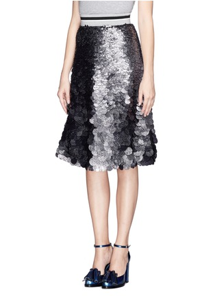 Front View - Click To Enlarge - MSGM - Sequin paillettes flare skirt