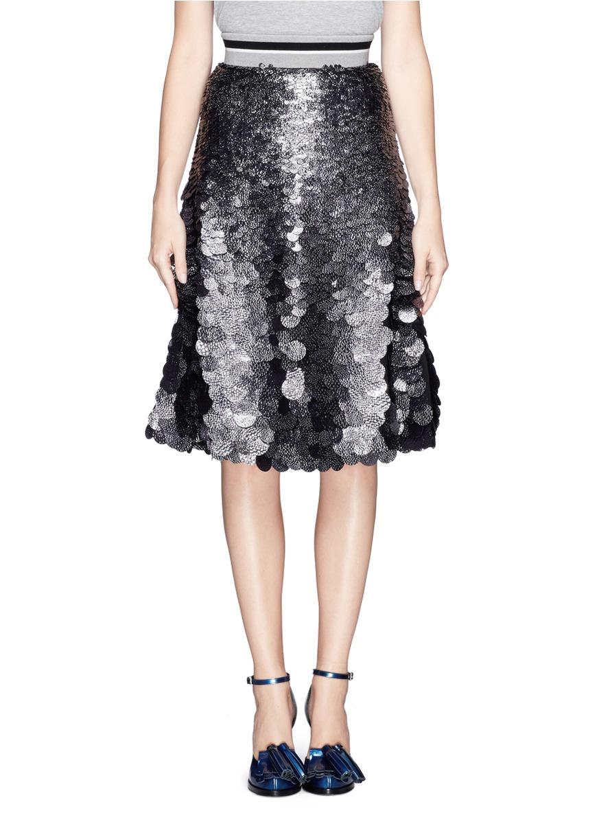 msgm sequin paillettes flare skirt on sale multi