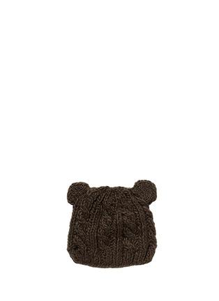 模特儿示范图 - 点击放大 - THE BLUEBERRY HILL - 'Julian' bear cable knit kids beanie