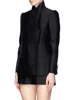 Asymmetric wool-silk double breasted jacket