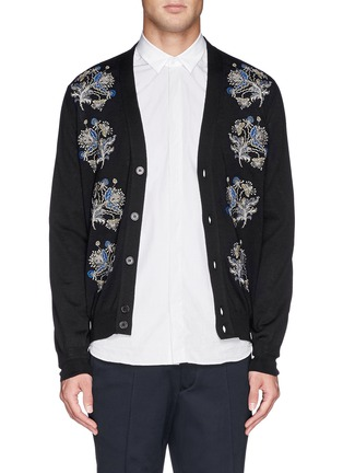 Alexander McQueen - Floral embroidery wool-silk cardigan