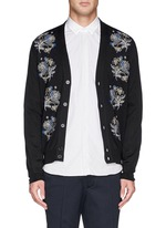 Floral embroidery wool-silk cardigan