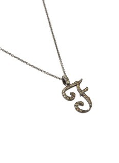 LC COLLECTION JEWELLERY Diamond 18k gold letter pendant necklace – F