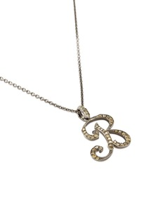 LC COLLECTION JEWELLERY Diamond 18k gold letter pendant necklace – R