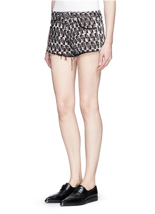 Front View - Click To Enlarge - IRO - Frayed edge cotton-blend tweed shorts