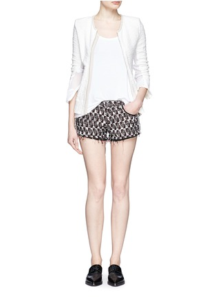 Figure View - Click To Enlarge - IRO - Frayed edge cotton-blend tweed shorts