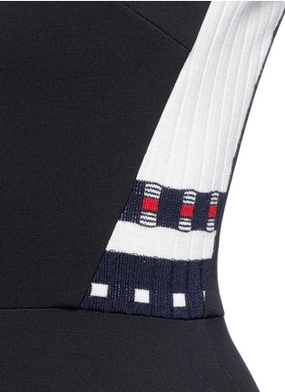 Detail View - Click To Enlarge - Victoria Beckham - Stripe knit insert fitted dress