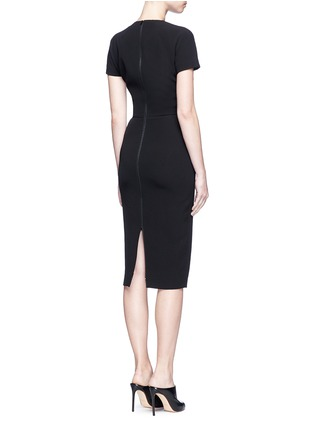 Back View - Click To Enlarge - Victoria Beckham - Stripe knit insert fitted dress