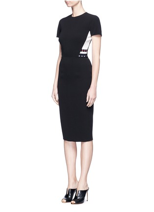 Front View - Click To Enlarge - Victoria Beckham - Stripe knit insert fitted dress