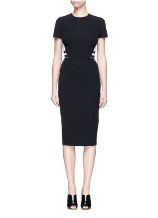 Main View - Click To Enlarge - Victoria Beckham - Stripe knit insert fitted dress