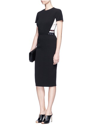 Figure View - Click To Enlarge - Victoria Beckham - Stripe knit insert fitted dress