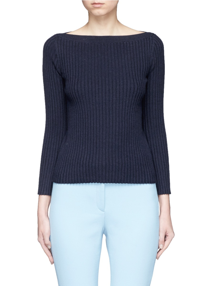 Sandora Merino wool-cotton rib knit sweater by Theory