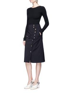 Tibi'Urban Stretch' snap button skirt