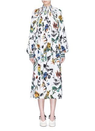 Main View - Click To Enlarge - Tibi - Gothic floral print Edwardian silk dress