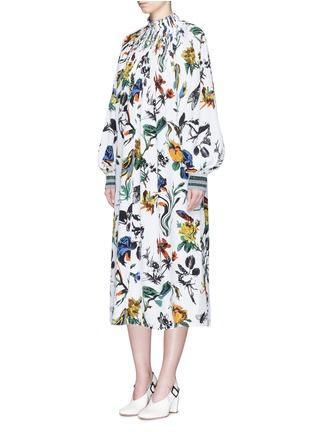 Figure View - Click To Enlarge - Tibi - Gothic floral print Edwardian silk dress