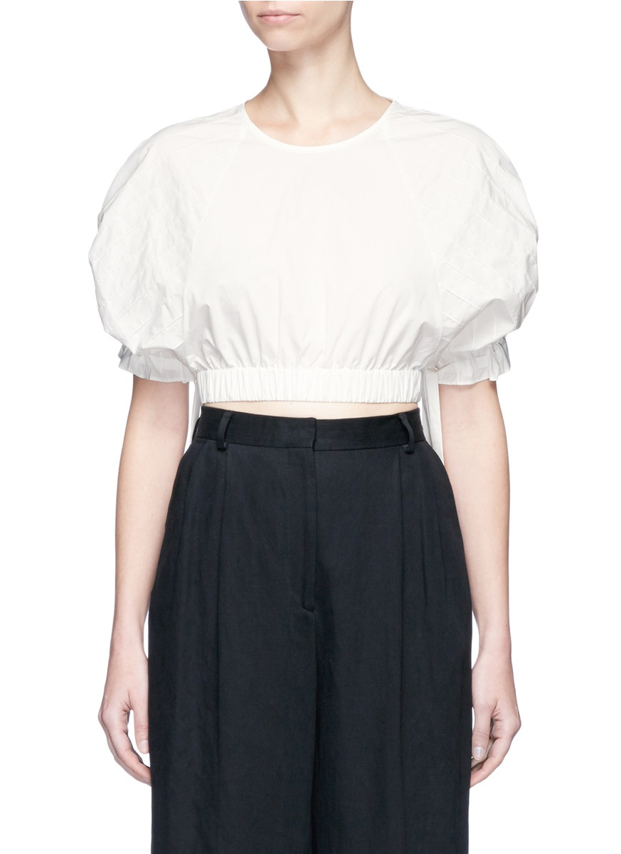 Tie sleeve pintuck cropped top by Tibi