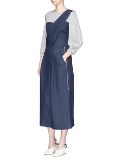 Tibi'Hessian' asymmetric linen jumpsuit