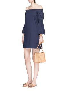 TibiLantern sleeve off-shoulder poplin dress