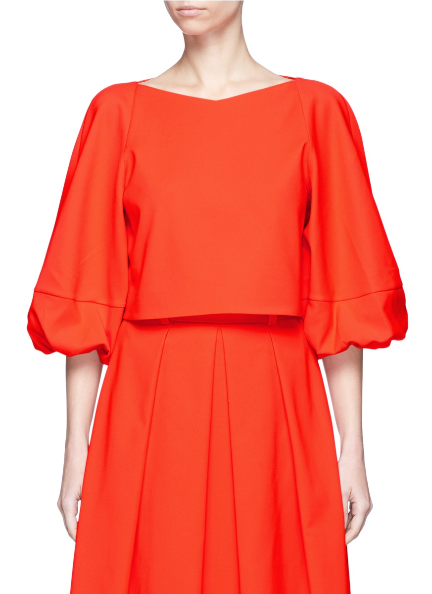 Agathe balloon sleeve cropped top by Tibi