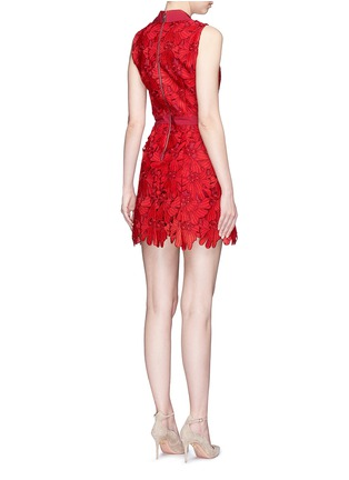 Back View - Click To Enlarge - alice + olivia - 'Ellis' floral guipure lace zip front dress