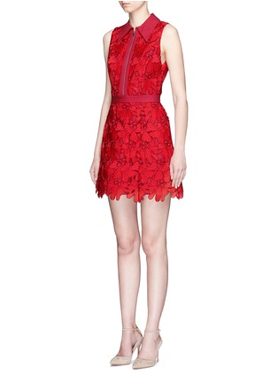 Front View - Click To Enlarge - alice + olivia - 'Ellis' floral guipure lace zip front dress