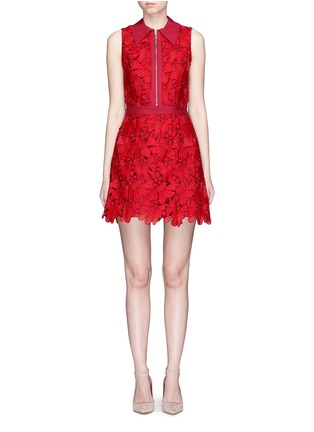 Main View - Click To Enlarge - alice + olivia - 'Ellis' floral guipure lace zip front dress