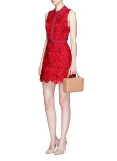 alice + olivia'Ellis' floral guipure lace zip front dress