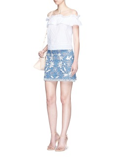 alice + olivia'Riley' floral embroidered chambray A-line skirt