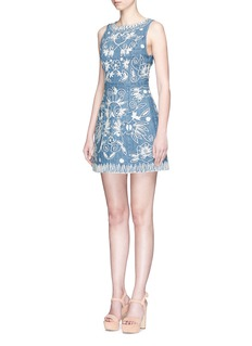 alice + olivia'Lindsey' floral embroidered chambray pouf dress