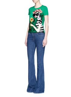 alice + olivia Stace lace floral embellished cotton T-shirt