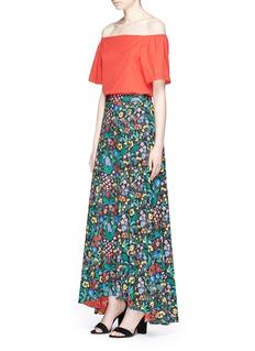 alice + olivia'Athena' floral print high low maxi skirt