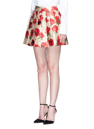 Front View - Click To Enlarge - alice + olivia - 'Fizer' box pleated floral jacquard skirt