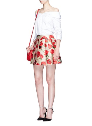 Figure View - Click To Enlarge - alice + olivia - 'Fizer' box pleated floral jacquard skirt