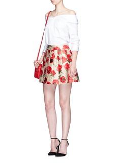 alice + olivia'Fizer' box pleated floral jacquard skirt