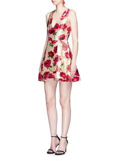 alice + olivia'Tanner' pleated floral jacquard dress