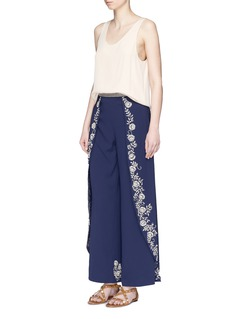 alice + olivia 'Larissa' faux pearl floral wide leg pants