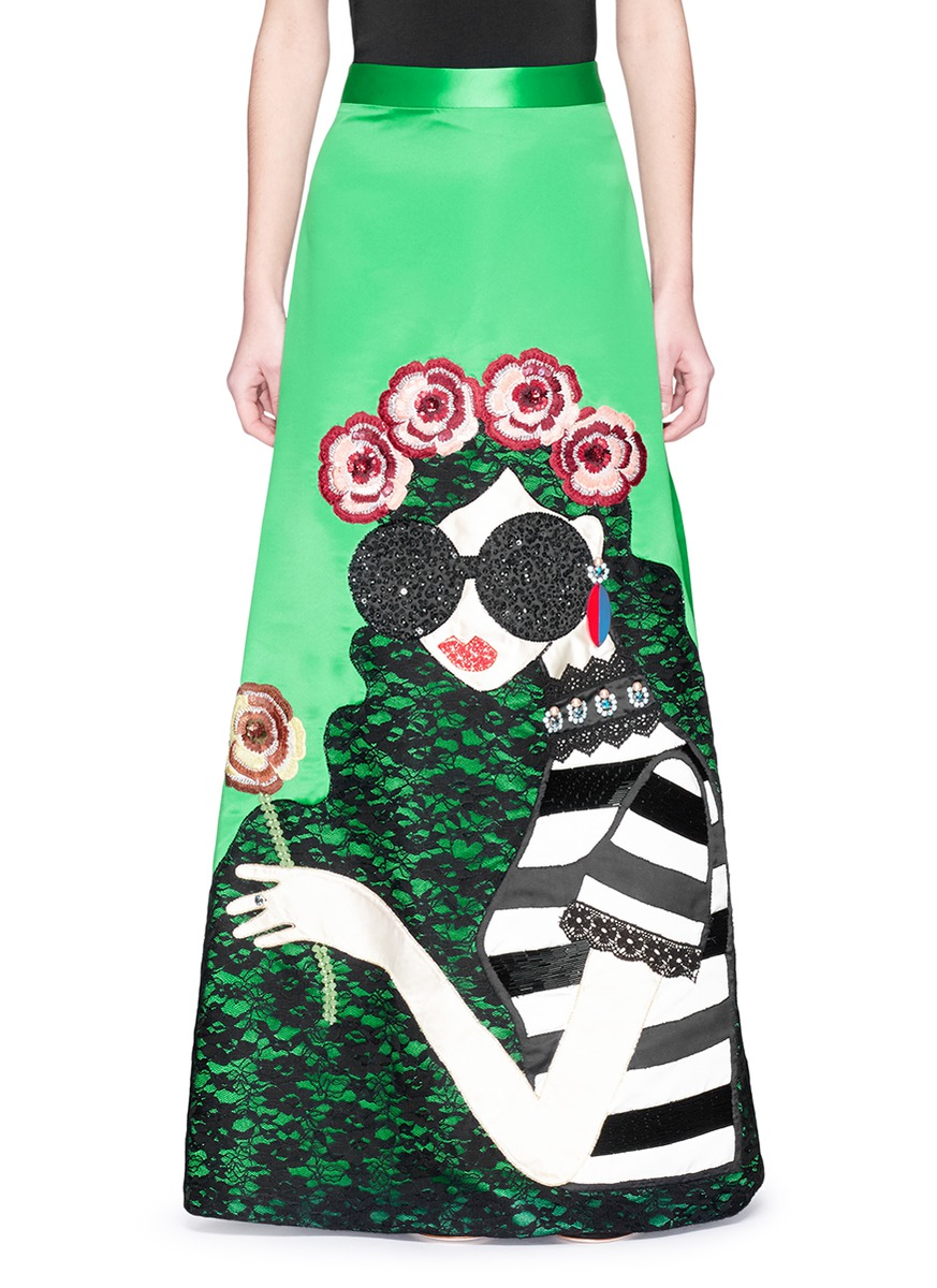 Ursula embellished Stace Face satin ball gown skirt by alice + olivia