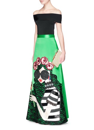 Figure View - Click To Enlarge - alice + olivia - 'Ursula' embellished Stace Face satin ball gown skirt