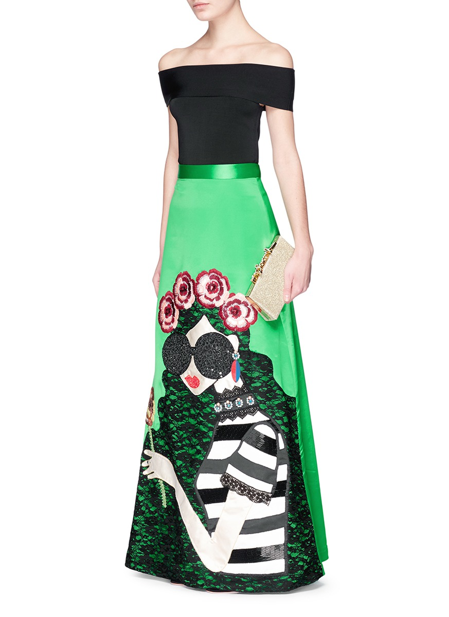ALICE AND OLIVIA 'Ursula' Embellished Stace Face Satin Ball Gown Skirt